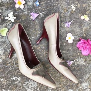 Gray and maroon Tod's heels